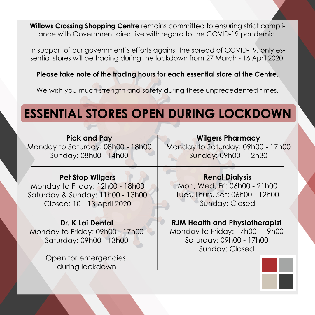 Willows Crossing Essential Stores Trading Hours During Lock down